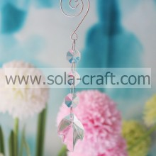 Factory Price Nice Leaf Drops With Three Octagon Beads For Christmas Tree Curtain Chandelier