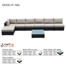Wholesale price outdoor furniture 7 seater sofa set with ottoman.