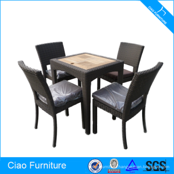 Classic Rattan Furniture Dining Chairs And Teakwood Table
