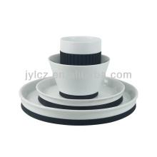 conjunto de porcelana cerámica 4 piezas con silicona