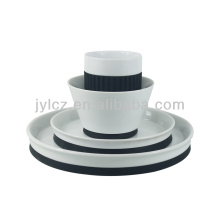ensemble de 4pcs céramique porcelaine avec silicone