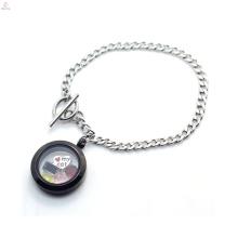 316l pulseira cadeia cubana, pingente de aço inoxidável flutuante medalhão pulseira jóias