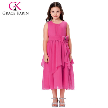 Grace Karin Asymmetric Ruffled Chiffon Flower Girl Princess Bridesmaid Wedding Pageant Party Dress CL010426-1