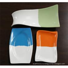 Двойной Цвет имитация керамической, меламин посуда блюда (КС-055)