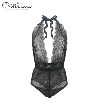 Fashion deep v cut lace bodysuit för kvinnor