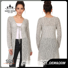 Women Lace-up Sweater with Lace Hem