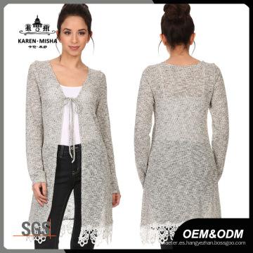 Suéter con cordones para mujer con dobladillo de encaje