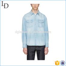 Синий деним социальной джинсовая футболка футболки синий мужская с длинным рукавом рубашки