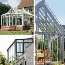 Sala de sol de aluminio con diseño de tejado inclinado de claraboya de color blanco (FT-S)