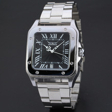 OEM / ODM Stainless Steel Square Hand Silver Watch