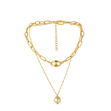New arrival personality pig nose clavicle chain pearl hollow pendant alloy necklace jewelry set accessories women