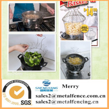 round stainless steel folding single serving mini fryer kitchen basket