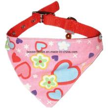 Impresión rosada de la tela cruzada del algodón con la bufanda de encargo del cuello del animal doméstico del gato del perro de la pequeña Bell