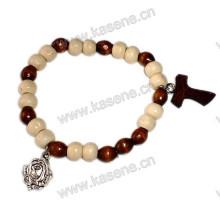 Эластичный деревянный бисер Религиозный браслет с медалью из сплава розы