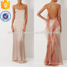 Rose Ruffles Satin Evening Dress Manufacture Venta al por mayor Moda Mujeres Ropa (TA4073D)