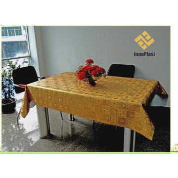PVC gedruckte Gold geprägte Tischdecke mit Unterstützung