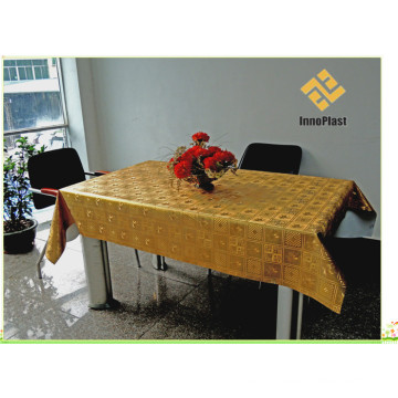 PVC Printed Gold Embossed Tablecloth with Backing