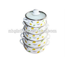 louça de esmalte com tampa de esmalte e design fashional
