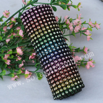 24Row Rainbow Crystal Diamond Rhinestone Ribbon Mesh