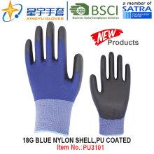 18g de nylon azul Shell PU guantes recubiertos (PU3101) con CE, En388, En420, guantes de trabajo