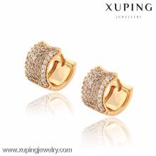 91242 Xuping nouveau gros style or petite boucle d'oreille en forme ronde avec de nombreux zircons