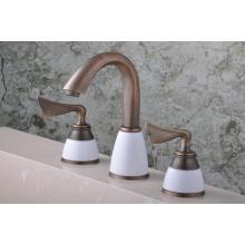 Robinet de baignoire de mélangeur de Brassbath de poignée antique de couleur antique (Q30233A)