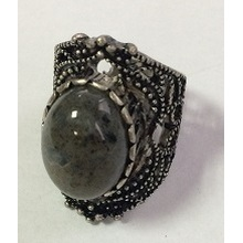 Black Lace Metal Ring with a Gem