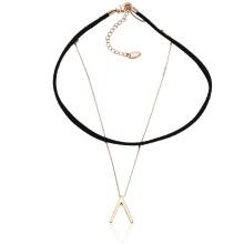 43613 Xuping moda joyería de oro diseño simple cobre y collar de capa de cuero chocker