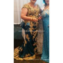 Caliente de oro Appliqued 2017 magníficas mangas cuello V cuello de cuentas de encaje mujer madre de los vestidos de novia MM913