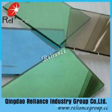Cristal reflectante verde oscuro de una forma con grosor de 4-6 mm