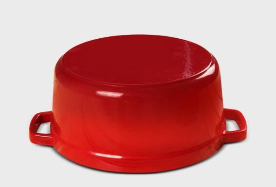 Cast iron enamel cocotte pot with stainless steel knob
