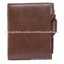 Chic Men's Black Leather, Credit Card, Slot Wallet with Coin Bag