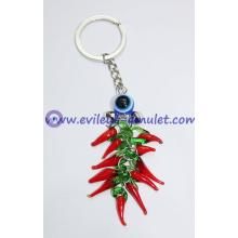 Turkish evil eye bell eleven red pepper key chain