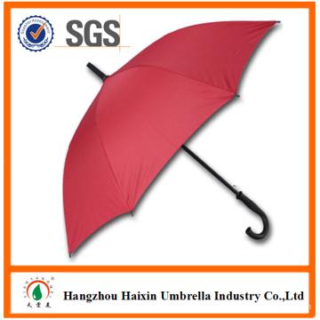 Pongee Fabric Red Color Fiberglass Frame Umbrella Wooden J Handle