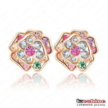 Yiwu 18k Gold Plated Jewelry Austrian Crystal Flower Stud Earring (ER0011-C)