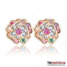 Yiwu 18k banhado a ouro jóias de cristal austríaco flor brinco (ER0011-C)