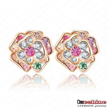 Yiwu 18k Gold Plated Jewelry Austrian Crystal Flower Stud Earring (ER0011-C)