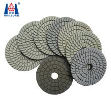 "Huazuan 4"" spiral white wet diamond flexible polishing pad for marble granite quartz engineered stone"