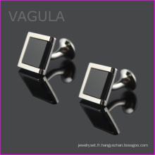 VAGULA Onyx noir Gemelos bouton de manchette chemise poignets manchette Hl62271