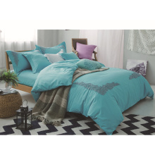 Peach Skin  Solid Lace Bedding Set Bed Sheet Duvet Cover Set