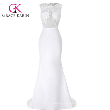 GK Occident Women's White Floor-Length Sleeveless See-Through Splicing Evening Dress CL008956-1