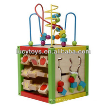 5 en 1 Intelligent Playing Cube Jouet éducatif en bois pour enfants de 18 mois