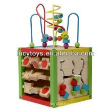 5 em 1 Intelligent Playing Cube Brinquedo educativo de madeira para crianças 18 meses