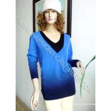 Jersey con cuello en V de cashmere y color de gradación