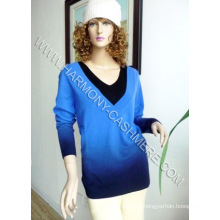 Suéter de cashmere com decote em v com gradação de cor