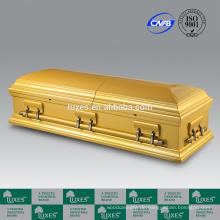 Chinesischen Sarg Hersteller LUXES Golden gefärbt Sarg zur Beerdigung Feuerbestattung