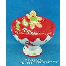 Suporte de doces de cerâmica pintado à mão para decoração de natal