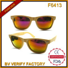 Óculos de sol baratos F6413 com padrão de madeira (amostras disponíveis)