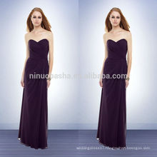 Under 100 Cheap 2014 Purple Sheath Bridesmaid Dress Sweetheart Floor-length Zipper Chiffon Long Prom Gown With Pleats NB0731