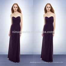 Под 100 дешевые фиолетовый невесты платья 2014 оболочка милая этаж длина платья шифон длинные Пром платье со складками NB0731